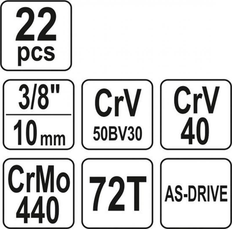 Set YATO YT-38561 (22 buc) Chei tubulare cu antrenor