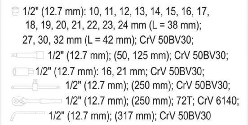 Set YATO 12671-YT (25 buc) Chei tubulare cu antrenor