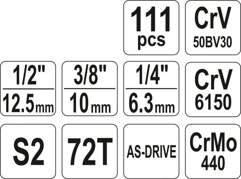 Set YATO YT-38831 Chei tubulare cu antrenor (111 buc)
