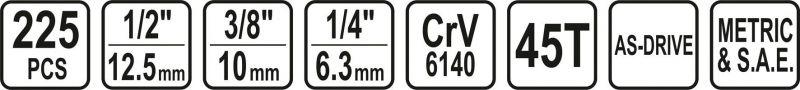 Set STHOR 58693 Chei tubulare cu antrenor (225 buc)