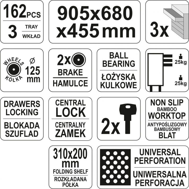 Dulap cu scule YATO YT-55280 (162 buc)