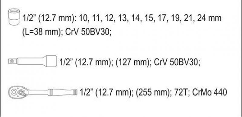 Set YATO YT-38671 Chei tubulare cu antrenor (12 buc)