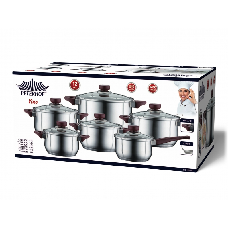 Cratita PETERHOF PH-15804 (SET) inox 6 buc