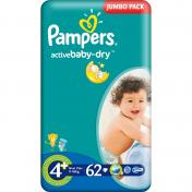 Scutece PAMPERS JUMBO PACK 62 buc 9-16 Kg № 4+
